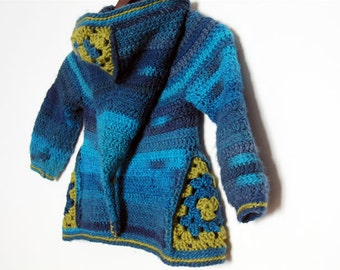 Ermeline - CROCHET PATTERN for boys and girls cardigan size 2T to 8 year old - in english, french and german