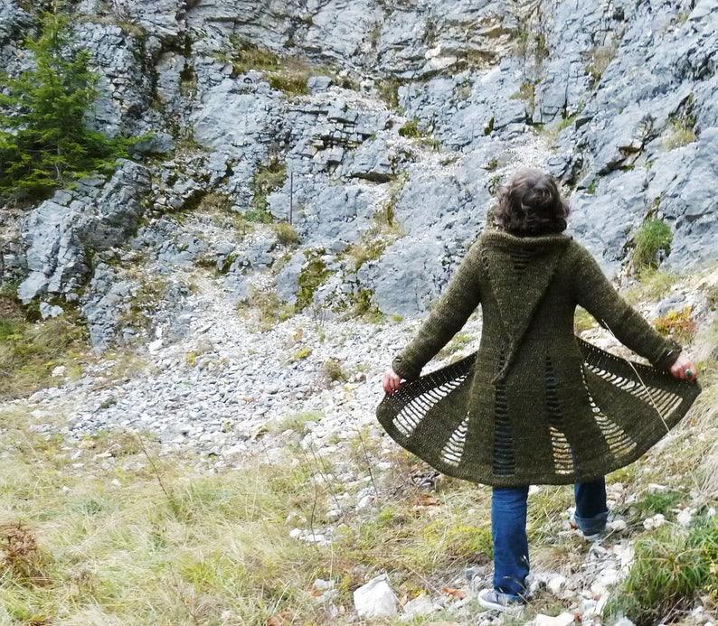 Open Spaces coat  Crochet pattern PDF to make a women's image 0