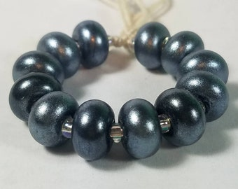 GMD lampwork glass beads jet black with silver pixie dust spacers set of 12 sparkling pixies 9mm