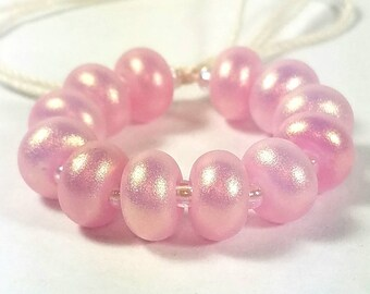 GMD lampwork glass beads alabaster dark rose pink with gold hi-lite pixie dust spacers set of 12 shimmer pixies 9mm