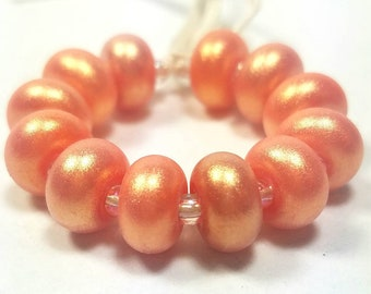 GMD lampwork glass beads opaque orange gold hi-lite pixie dust spacers set of 12 shimmer pixies