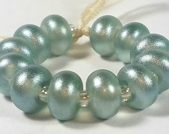 GMD lampwork glass beads transparent light steel gray with silver pixie dust spacers set of 12 sparkling pixies 9mm