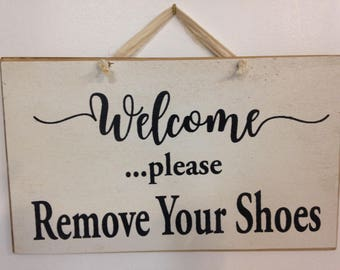 8a6e435af0cb WELCOME Please remove shoes sign take off shoes hanging wood plaque porch  housewarming gift stocking feet no boots