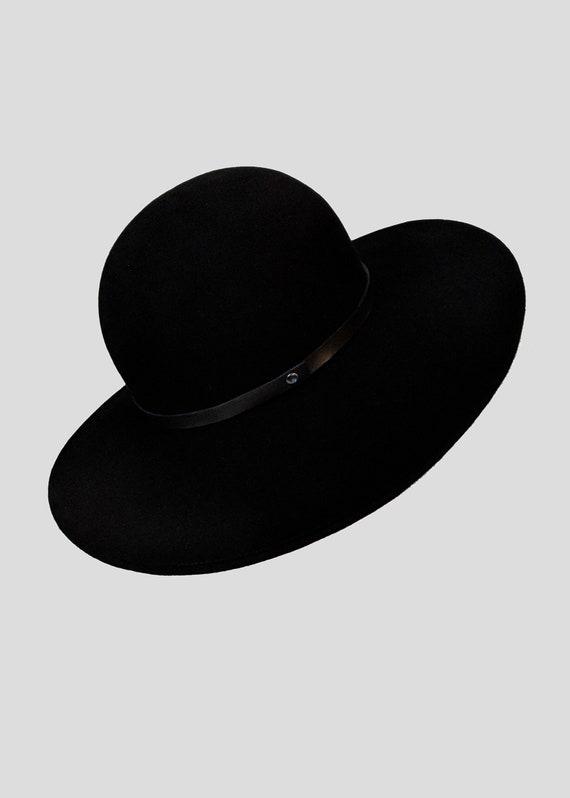 Black Hat Wide Brim Witch Hat Coven Leather Band Fur Felt Fall  a3c2ba5fdab