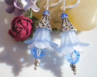Blue Lucite Tulip Romantic Earrings w Blue Topaz Swarovski Crystals 9.25% Sterling Tulip Bali Beadcaps OOAK