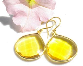 Topaz Quartz Gemstone Pendant Earrings Gold Bezeled Setting