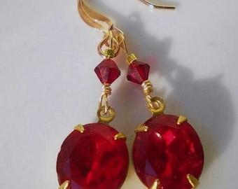 Ruby Red Crystal Pendant Earrings