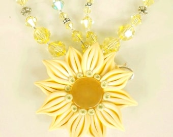 Polymer Clay Floral Pendant Necklace w Jonquil Mint Swarovski Crystals
