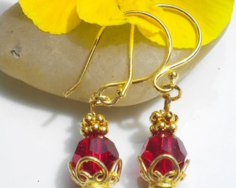Siam Swarovski Crystal Earrings 22K Gold Vermeil Accents