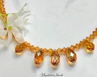 Autumn Necklace w Topaz Crystals 14K Chain