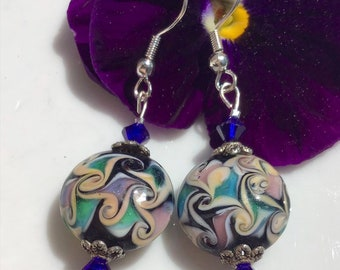 Murano Glass Floral Earrings Swarovski Crystals