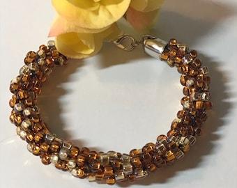 Kumihimo Beaded Bracelet Topaz Lt Topaz Czech Glass Crystals