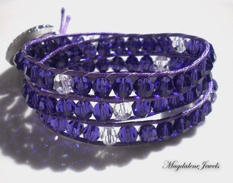 Triple Wrap Bracelet Beaded Bracelet Swarovski Crystals Purple image 0