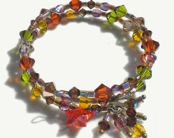 Autumn Memory Bracelet Multi Color Crystals w Czech Glass Crystals