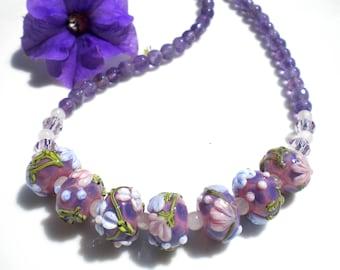 Artisan Lampwork Floral Necklace Murano Venetian Glass Amethyst Semi-Precious Gemstones