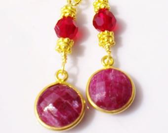 Ruby Gemstone Vintage Earrings 22K Vermeil Gold Accents Ruby Crystals