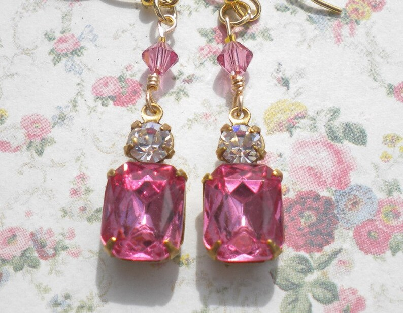 Rhinestone Rose Pink Earrings Art Deco Vintage Pendants Clear Rhinestone Accents Rose Swarovski Crystals