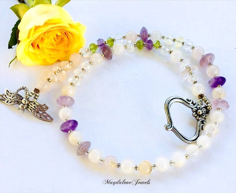 Gemstone Beaded Choker Necklace DragonflyToggle Clasp image 0