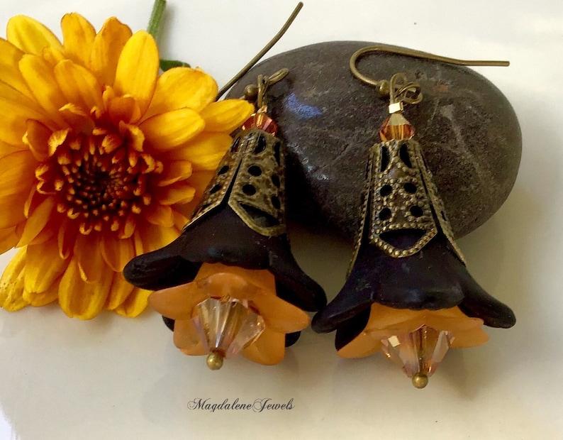 Halloween Black Floral Earrings image 0