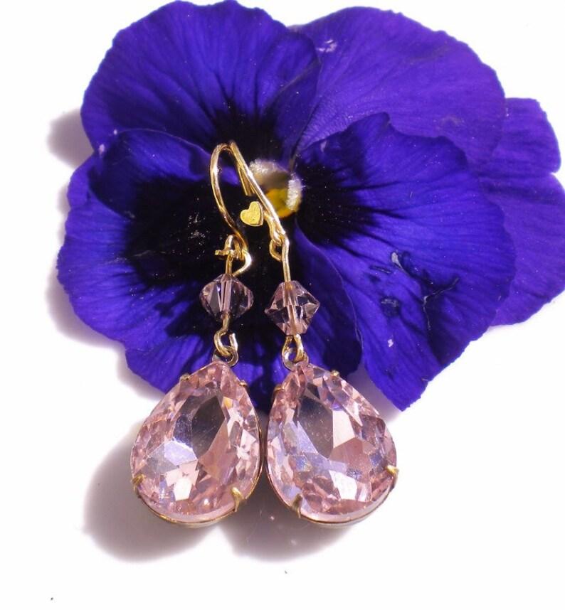 Swarovski Crystal Pendant Earrings Pink  w Lt Pink Bicone image 0