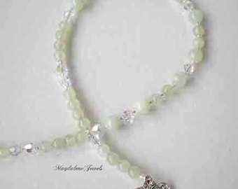 Chinese Jade Gemstone Necklace w Clear Crystals