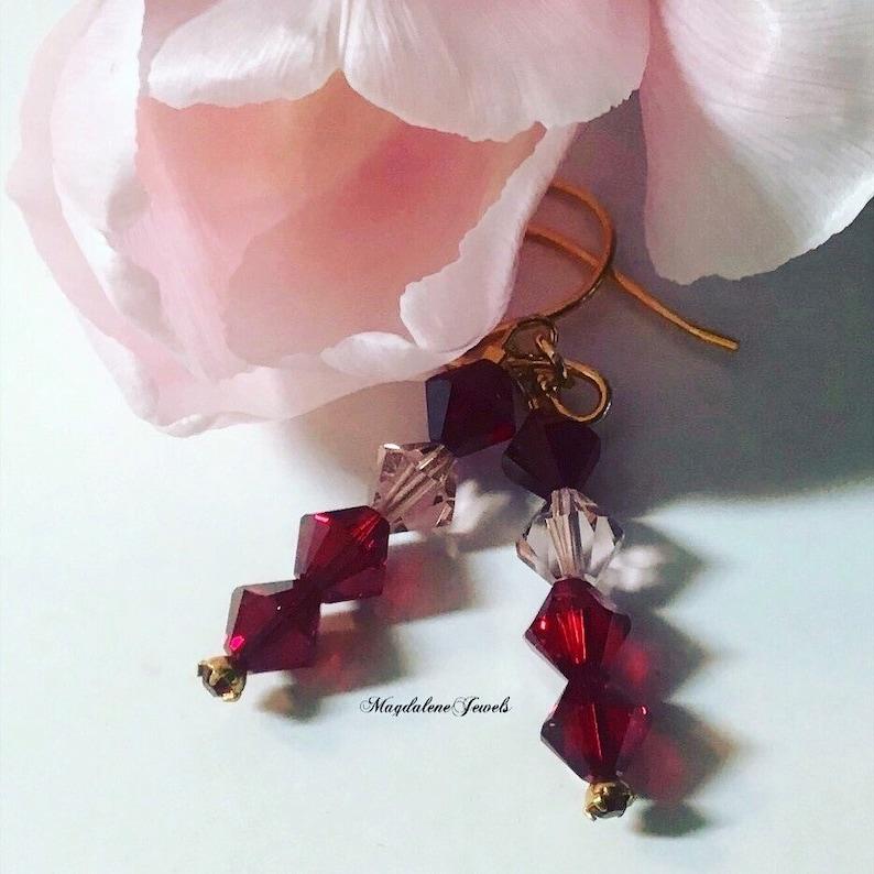 Ruby Red Pink Swarovski Crystal Earrings 22K Hooks image 0