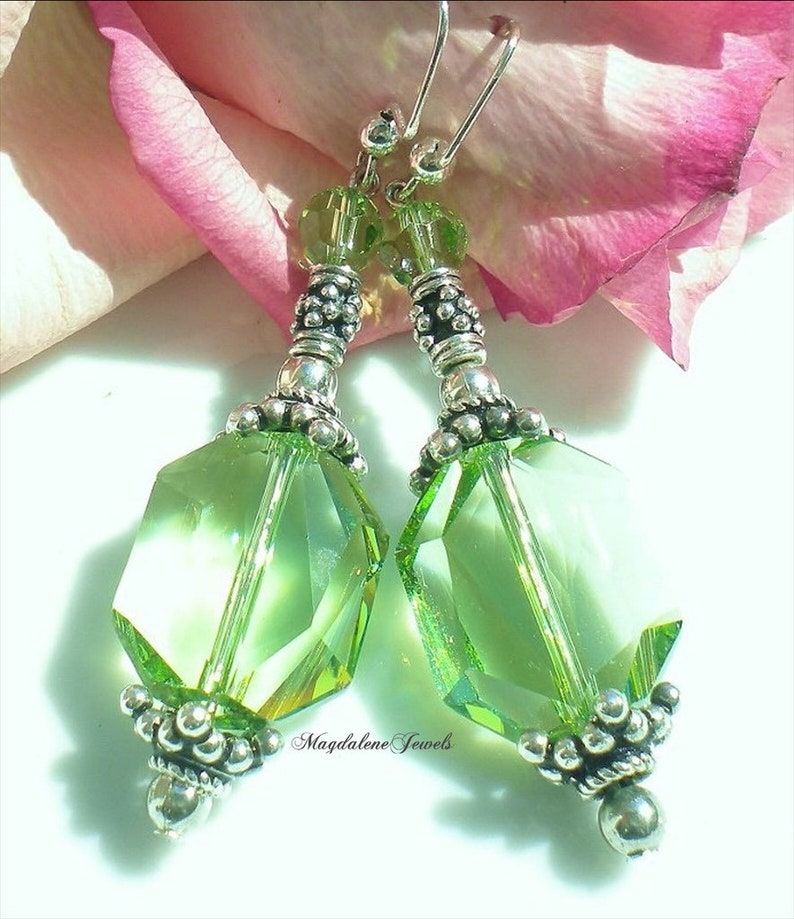 Peridot Swarovski Crystal Pendant Earrings image 0