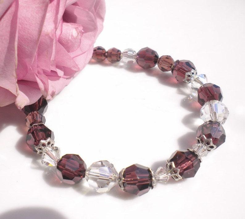 Swarovski Crystal Bracelet Bordeaux  Silk Crystals Silver image 0