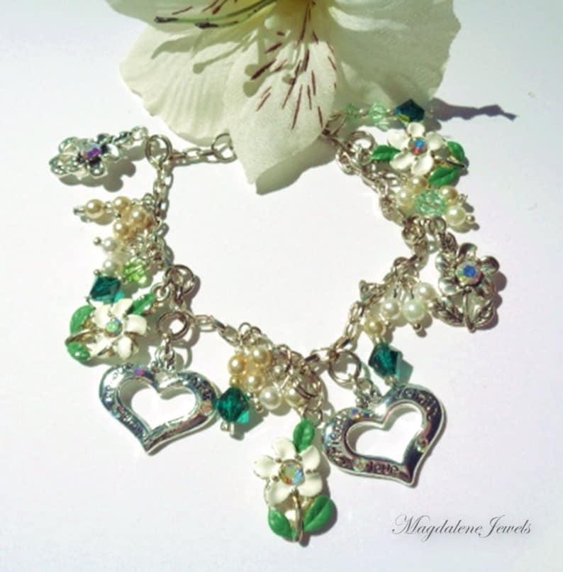 Charm Bracelet Sterling Daisy & Heart Charms Swarovski Pearls image 0