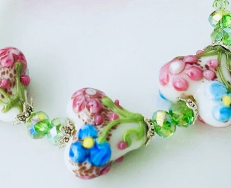 Artisan Lampwork Bracelet Floral Hearts Swarovski Crystals image 0