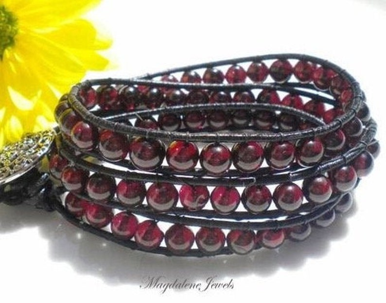 Triple Wrap Bracelet Garnet AA Gemstones Leather Cord Vintage image 0