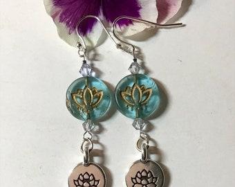 Lotus Flower Earrings Czech Glass Sterling Silver Flowers