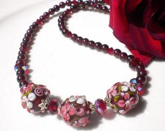 Artisan Floral Lampwork Beads Garnet Gemstones Siam Crystals