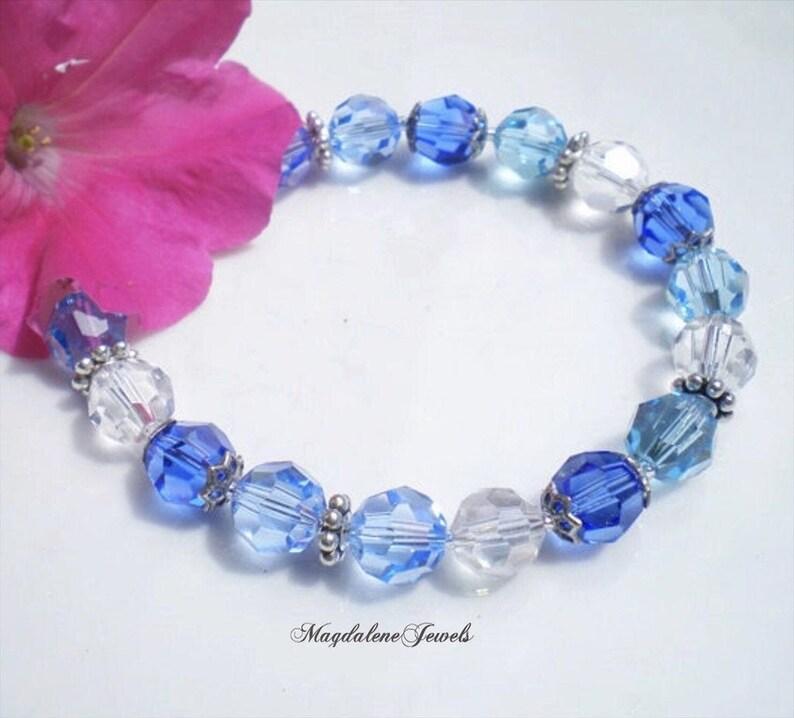 Sapphire Aquamarine Swarovski Crystal Bracelet 8mm Crystals image 0