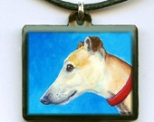 Greyhound Cream Face Dog Art Jewelry Pendant Handmade from Original Painting by Dottie Dracos