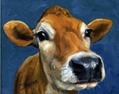 Jersey Cow, Cow Art, Contemporary Farm Art, Kitchen Art, Art for Children, Farm Animal Art Print of Original Painting by Dottie Dracos
