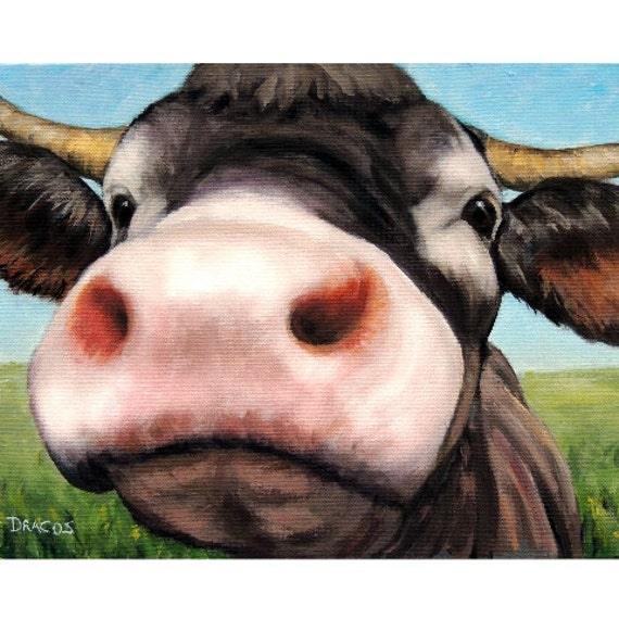 Regalo Mucca Da Latte.Mucche Farm Animal Art Arte Di Mucca Mucca Da Latte Dottie Dracos Vivaio Arte Per Bambini Camera Bambini Agriturismo Arredamento Moderna