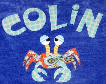 Personalized Large Carribean Blue Velour Beach Towel with Crab, Kids Bath Towel, Pool Towel, Crab Towel, Camp Towel, Baby Towel, Swim Towel