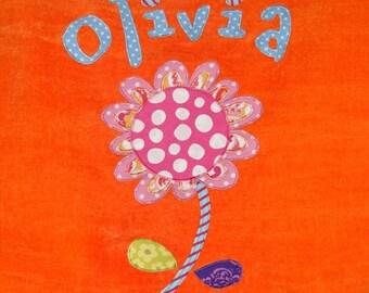 Personalized Large Orange Velour Beach Towel with Flower, Bath Towel, Pool Towel, Camp Towel, Bridal Party Gift, Swim Towel, School Towel