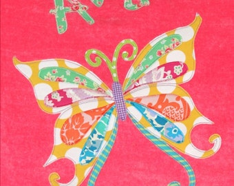 Personalized Large Pink Velour Beach Towel with Butterfly, Beach Towel, Pool Towel, Bridal Party Gift, Swim Towel, School Towel,School Mat