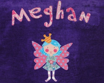 Personalized Large Purple Velour Beach Towel with Beautiful Fairy, Baby Towel, Kids Bath Towel, Pool Towel, Beach Towel, Bridal Party Gift