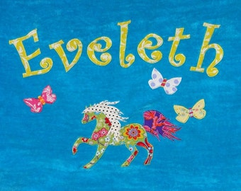 Personalized Large Turquoise Velour Beach Towel with a Beautiful Horse and Butterflies, Pool Towel, Personalized Kids Bath Towel, Baby Gift