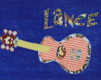 Personalized Large Royal Blue Velour Beach Towel with Funky Guitar, Pool Towel, Kids Bath Towel, Camp Towel, Baby Towel, Bridal Shower Gift