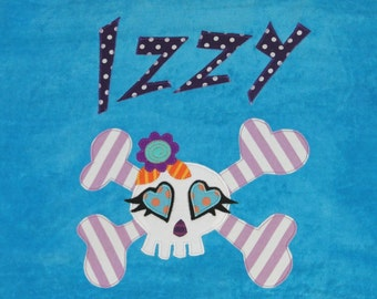 Personalized Large Turquoise Velour Beach Towel with Cute Girls Skull and Crossbones, Pool Towel, Kids Bath Towel, Camp Towel, College Towel