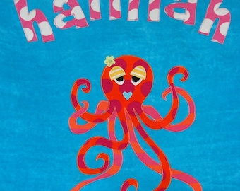 Personalized Large Turquoise Velour Beach Towel with a Fun and Funky Octopus, Pool Towel,Camp Towel,Kids Bath Towel,Baby Towel,Octopus Towel