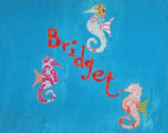 Personalized Large Turquoise Velour Beach Towel with Seahorses,Kids Bath Towel,Bath Towel,Camp Towel,Bridal Party Gift,Pool Towel,Seahorse