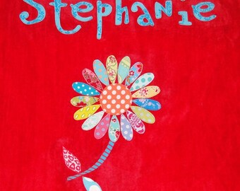 Personalized Large Red Velour Beach Towel with Daisy,Pool Towel,Camp Towel,Bridal Party Gift,Baby Gift,Swim Towel,Personalized towel,Daisy