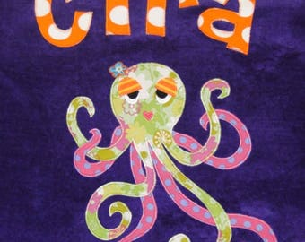 Personalized Large Purple Velour Beach Towel with a Fun and Funky Octopus, Pool Towel, Camp Towel, Kids Bath Towel, Baby Towel