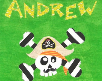 Personalized Large Green Velour Beach Towel with Funny Pirate with Mustache and Crossbones, Pool Towel, Kids Bath Towel, Camp Towel