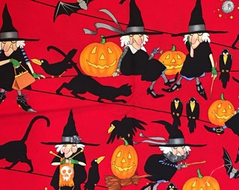 Alexander Henry - Life's a Witch - from 2006 - RARE, OOP - 100% cotton fabric- 1 yard